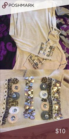 SOLD**Long sleeve top Tan long sleeve top with gems on wrist from h & m Tops Tees - Long Sleeve