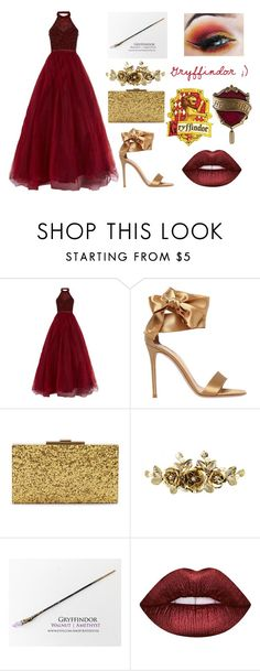 """""""Gryffindor yule ball dress"""" by lottie2004 ❤ liked on Polyvore featuring Jovani, Gianvito Rossi, Halston Heritage, Lime Crime, Gryffindor and yuleball"""