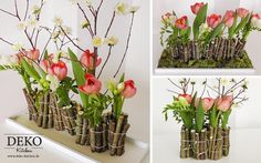 DIY: Make fancy flower decoration with wood yourself- DIY: Ausgefallene Blumendeko mit Holz selber machen Do it yourself: In this video I show you how to make a pretty floral decoration for the table with wood branches. Unusual Flowers, Diy Flowers, Spring Flowers, Flower Decorations, Deco Floral, Arte Floral, Floral Design, Flores Diy, Create Picture