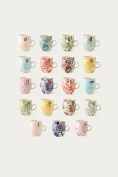Loving these mugs! i would need the whole alphabet so when friends come over for coffee they have their own mug! (and a few doubles in case of friends with the same first initial!)