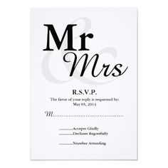 Typography Wedding RSVP Mr&Mrs Simple Elegant Typography Wedding RSVP Card