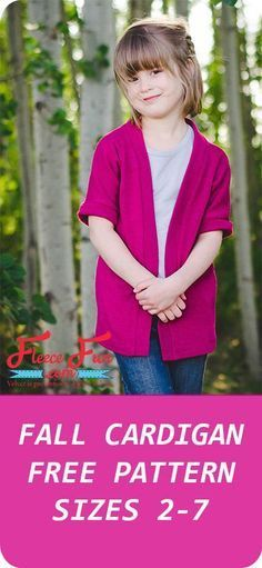 Diy Sewing Projects I love this girl's cardigan sewing pattern! Such a cute DIY idea. I love that there's a free pattern and sewing instructions too! Sewing Patterns For Kids, Sewing Projects For Beginners, Sewing For Kids, Sewing Tutorials, Sewing Crafts, Sewing Ideas, Clothes Patterns, Pattern Sewing, Love Sewing