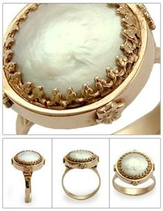 Rose gold engagement ring with a flat coin pearl - Snow white.. $816.00, via Etsy.  by artisanimpact
