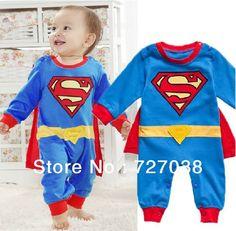 Fashion Boy Baby Romper Superman Long Sleeve Halloween Costume Fall Infant Romper Newborn Christmas Clothes Set Kid Dress $17.59