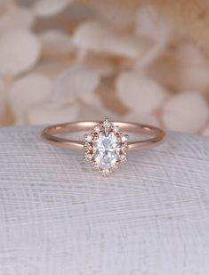 Vintage engagement ring Oval Moissanite engagement ring rose gold diamond halo wedding Jewelry Anniversary Valentine's Day Gift for women by NyFineJewelry on Etsy https://www.etsy.com/listing/567069274/vintage-engagement-ring-oval-moissanite