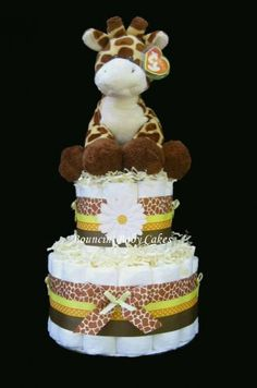 Baby Giraffe Baby Shower Diaper Cake Centerpiece Gift - I do not plan on having kids anytime soon, but when I do...this better be one of my gifts...I mean...the baby's gift