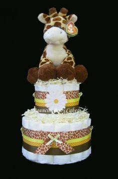 Baby Giraffe Baby Shower Diaper Cake