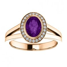 14kt Rose Gold 7x5mm Oval Center Stone Amethyst And Round Diamonds Ring....