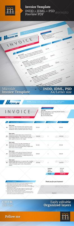 Computer Invoice Clean Invoice With Ms Word  Pinterest  Template Business Proposal .