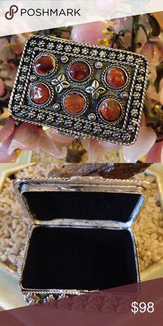 "Vintage Carnelian Box Gorgeous Velvet Inside, 2"", 800 Silver Vintage Jewelry"