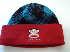 Paul Frank Childs One Size Acrylic Beanie Hat Blue Red Black Monkey Logo 32aa0df92198