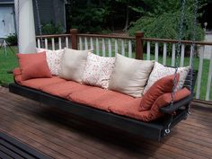 Beautiful Porch Swing Bed from Cypress Moon!  This giant swing is available in many colors!  $899   #swingbed  #bedswing  #porchswing  #porchswingbed