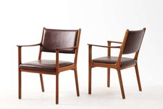 Set of 6 dining /conference armchairs by Ole Wansher in teak and brown leather | From a unique collection of antique and modern dining room chairs at http://www.1stdibs.com/furniture/seating/dining-room-chairs/