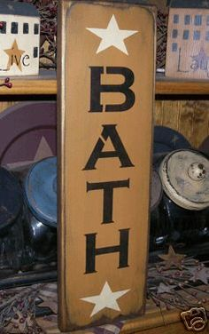 Primitive Sign Bath Stars Vertical | eBay