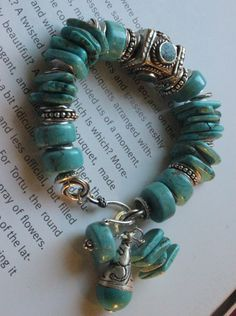 chunky bracelet turquoise bracelet tibetan by soulfuledges