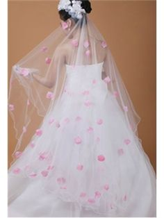 Faddish Elbow With Lace Flowery Edge Wedding Bridal Veils