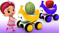 Little Baby Leaning Fruits Names for Children with Banana Toy Car Slider...