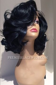 Hollywood Glamour Written Curls Black Color Human Hair Lace Wigs - See more at… Wig Styles, Curly Hair Styles, Natural Hair Styles, Love Hair, Gorgeous Hair, Human Hair Lace Wigs, Curly Wigs, Weave Hairstyles, Black Hairstyles