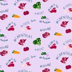 Meat & Veggie in Cream custom fabric by plaid_thursdays for sale on Spoonflower Custom Fabric, Spoonflower, Veggies, Gift Wrapping, Vegan, Wallpaper, Prints, Pattern, Inspiration
