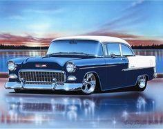 1955 Chevy Bel Air 2 Door Sedan Hot Rod Car Art Print 11x14 55