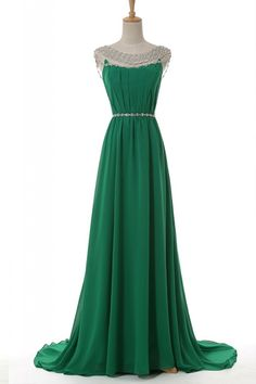 Elegant Scoop Cap Sleeves Crystal Beading Backless Green Evening/Prom Dress