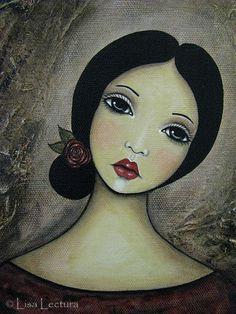 Mixta retrato pintura original por Lisa Lectura por lisalectura