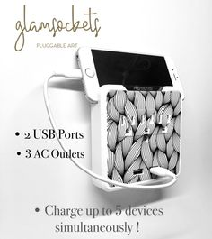 Glamsockets Decorative Wall Mount Surge Protector with 3 Outlets, Dual USB Charging Ports and Phone Holder - USB Charging Center/Multi Function Wall Tap (Abstract Vines) Charging Center, Wall Taps, Phone Holder, Outlets, Usb, Tableware, Shop, Dinnerware, Dishes
