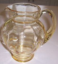 "Sold:  $337.00 14 bids +$9.50 shipping	     HEISEY ""IRENE"" PITCHER/JUG - Sahara - beautiful - sparkling & perfect"