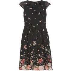 **Billie & Blossom Petite black border floral Dress ($57) ❤ liked on Polyvore featuring dresses, black, petite, floral dress, petite floral dress, floral printed dress, cap sleeve short dress and cap sleeve dress