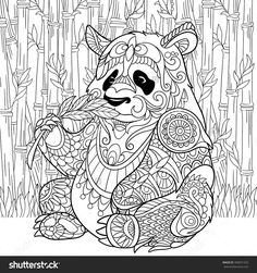 Zentangle Stylized Cartoon Panda Sitting Among Bamboo Stems. Sketch For Adult…