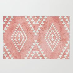 mint & coral tribal pattern (2) Area & Throw Rug
