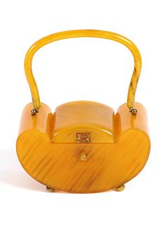 1930s-40s butterscotch Bakelite box purse - Art Deco.