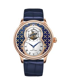 GRANDE SECONDE TOURBILLON | Paillonné dial in blue Grand Feu enamel. 18-carat red gold case. Self-winding tourbillon movement. Power reserve of 7 days. Diameter 43 mm. Numerus Clausus of 8.