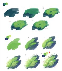 Grass process by Urswurs on DeviantArt Digital Painting Tutorials, Digital Art Tutorial, Art Tutorials, Digital Paintings, Drawing Tutorials, Concept Art Tutorial, Background Drawing, Coloring Tutorial, Poses References