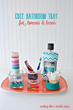 Cute Organized Bathroom Tray for Tweens or Teens