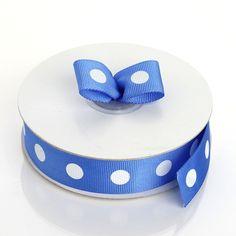 "25 Yard 7/8"" Royal Blue Grosgrain Polka Dot Ribbon Royal Blue And Gold, Blue And White, Royal Blue Wedding Decorations, Blue Tablecloth, Diy Party Supplies, Personalized Napkins, Ribbon Design, Ribbon Colors, Grosgrain Ribbon"