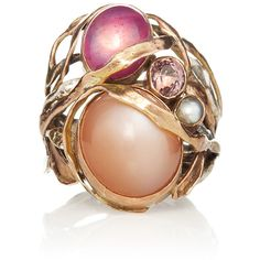 Sandra Dini One Of A Kind 12K Gold Ring With #Pinkmoonstone,  #Pinkruby, #Pearl - #anelli