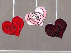 Stained Glass Pink Rose Heart Valentine by FoxStainedGlass on Etsy