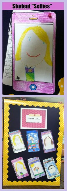 """Fun, contemporary back-to-school """"all about me"""" lesson! Have your students draw """"selfies"""" and describe their summer via text message prompts. Makes for a great bulletin board display!!"""