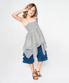 Love this White & Black Handkerchief Tunic & Denim Shorts - Toddler & Girls on #zulily! #zulilyfinds