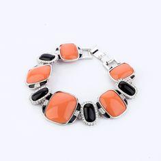 Elegant Black And Orange Artificial Gemstone Bracelet - New In