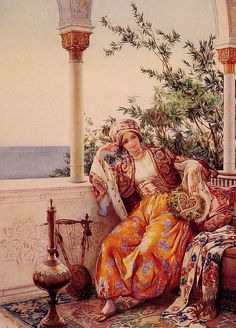 A lady relaxes in the verandah.  Era could be between 1600s and mid 1800s, Algeria or Turkey.  Artist Amedeo Simonetti.
