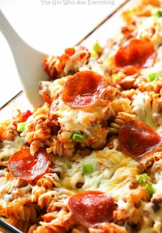 Supreme Pizza Pasta Bake - sausage, pepperoni, pepper, onion, and pizza sauce all in one casserole.