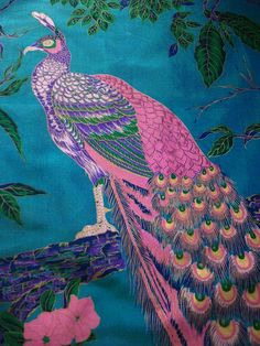 "Vintage Thai Silk Scarf - Peacock 36"" x 34"" Turquoise and Pink - Hand Painted and Hand Rolled"