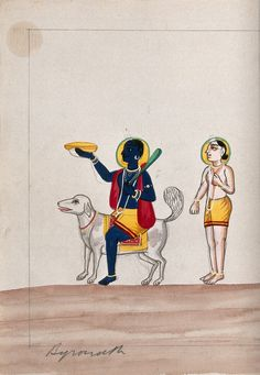 Bhairava riding a dog with worshipper. Gouache drawing.   Wellcome Collection