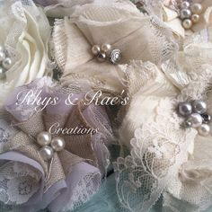 Set of 6 Bridal/Wedding Shabby Chic/Vintage Fabric Flowers, Cream, Ivory, Gray, Pewter, Silver, Linen Lace, Satin, Organza, Hair Flowers on Etsy, $25.00