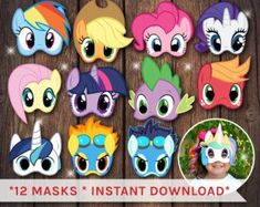 6 My little pony printable masks Birthday Party by PartyDesignsDIY