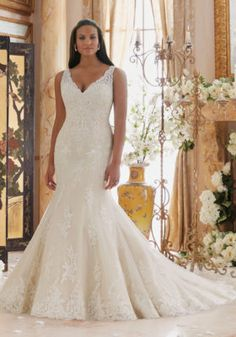 832a68e38800 3202 Embroidered Lace Appliques on Tulle with Scalloped Hemline Plus Size  Mori Lee Bridal Wedding Dress