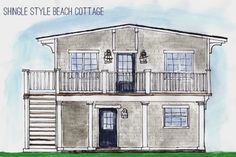 Shingle Style Beach Cottage-  Jillian Burke Interiors. Front Elevation. Nantucket Style Cottage. Copic markers and water colors