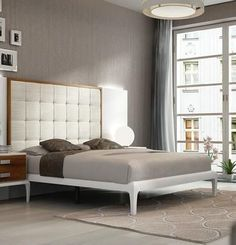 Malaga Collection i17827 King Size Panel Bed with High Tufted Headboard Tapered Legs Wooden Slat Frame and Eco-Leather Upholstered Headboard